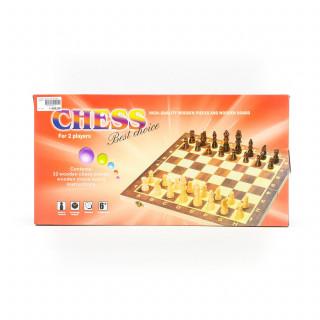 HK Mini igračka, drvenii šah, 2u1