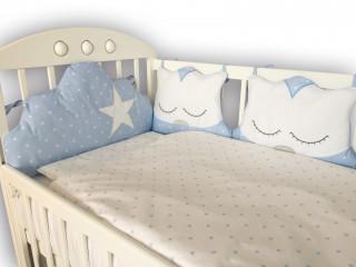 Lillo&Pippo punjena posteljina Sova plava