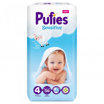 Pufies pelene sensitive MP 4 maxi 9-14kg 56 kom