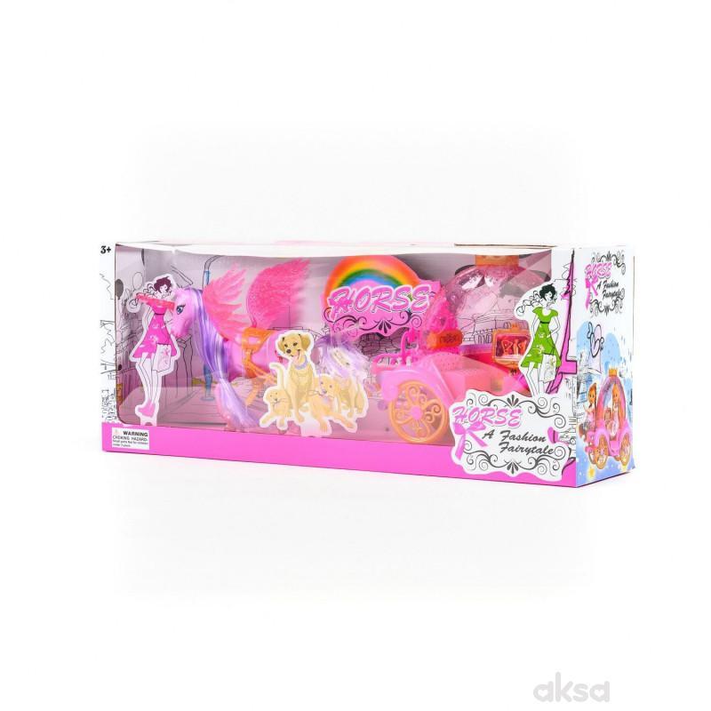 HK Mini igračka set konjić sa kočijom, roze