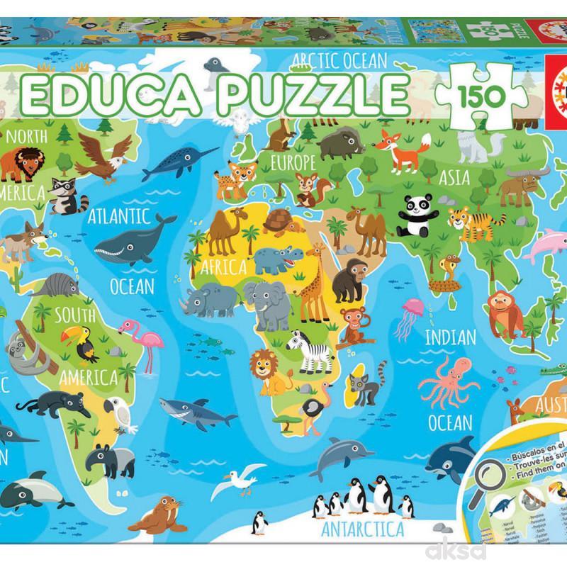 Educa slagalica životinjska mapa svijeta 150 dijelova